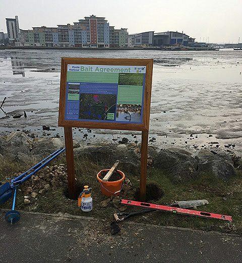 Interpretation Panel Installation Holes Bay Poole Dorset