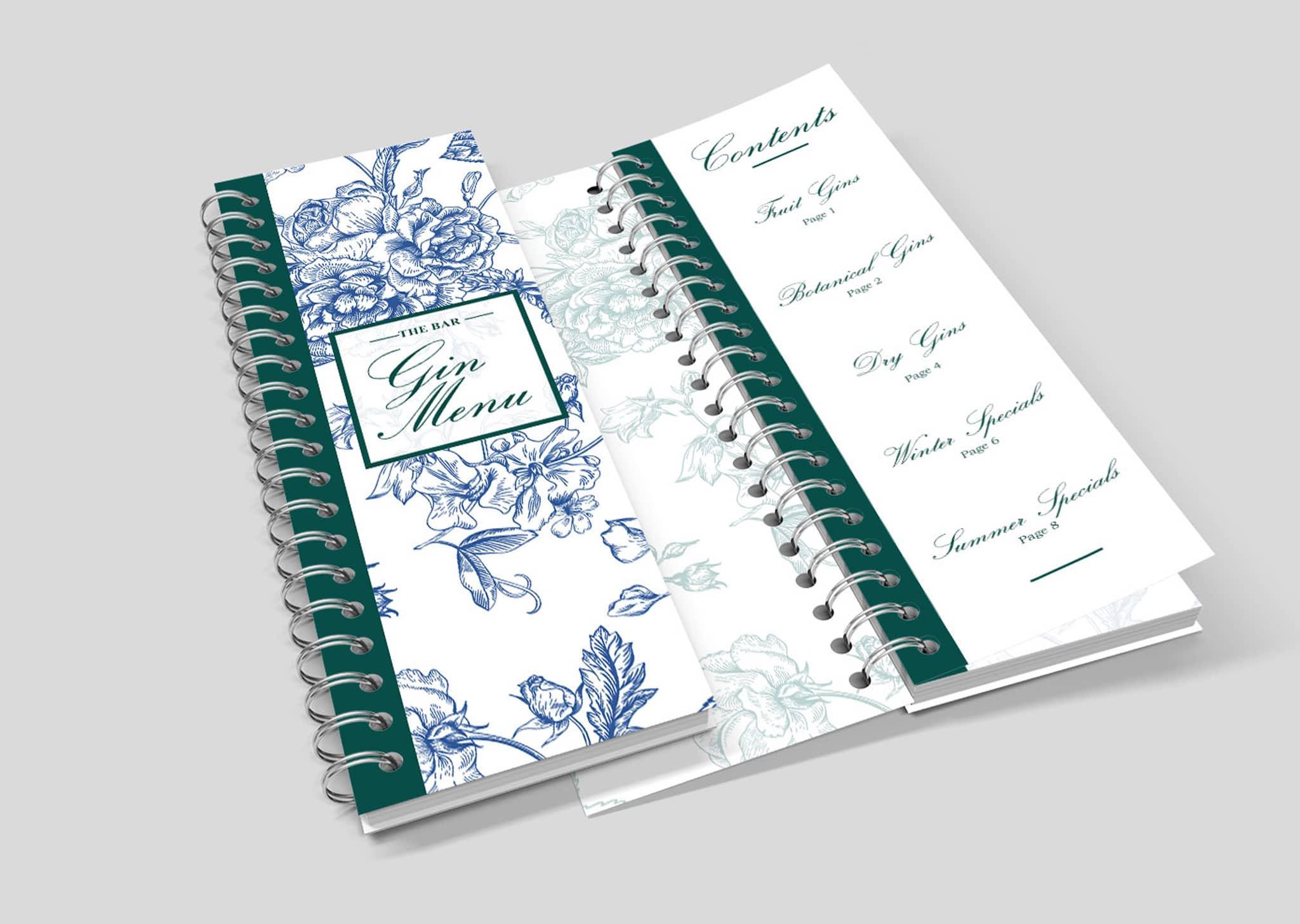 A Z Design And Print Services Wiro Bound Menu Printing
