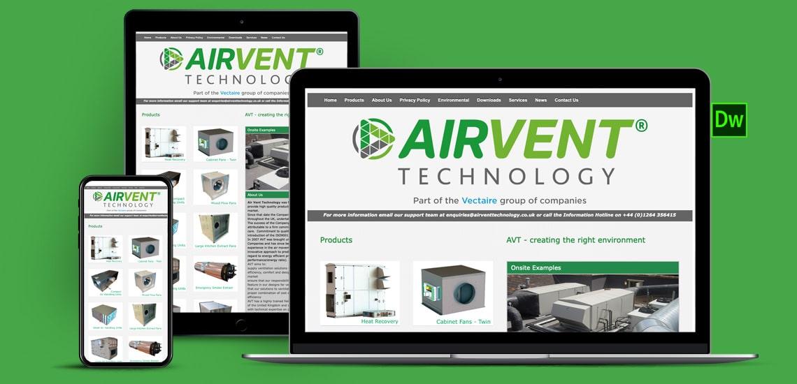 Designosaur Website Design Air Vent Technology